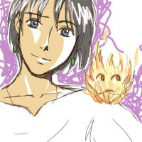 Howl and Calcifer by amandioka