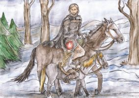 Eddard and Bran by Halwen