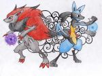 Zoroark and Lucario by mariot4747