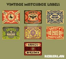 Vintage Vector Matchbox Labels by roberlan
