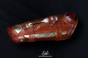 Leather steampunk vambrace by Ethis-Crea