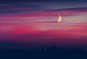 Moon And The Purple Clouds by JoniNiemela