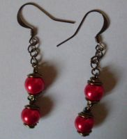 Red Pearl earrings by MadDani