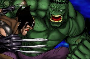 Wolverine X Hulk by demonplague
