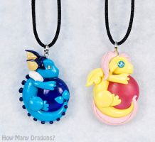 Dragon Pendants: Vaporeon and Fluttershy by HowManyDragons
