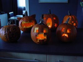 Pumpkin carvings by Gatobob