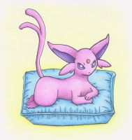 Art trade:Espeon relaxing by martylovespinkfloyd