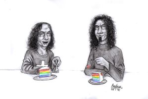 Ronnie n' Serj n' Rainbow cake by Red-Szajn