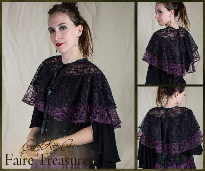 Black and Purple Lace Capelet by CrystalKittyCat