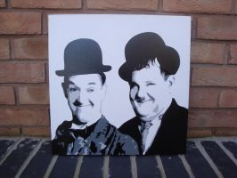 Laurel and Hardy - Spraypainted Stencil on Canvas by RAMART79