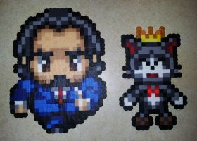 Perler - Reeve and Cait Sith by IAmArkain