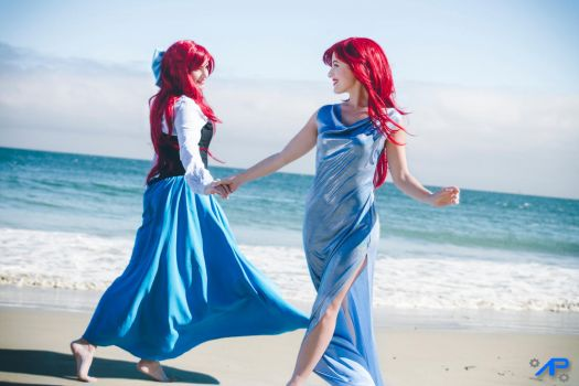 Twin Ariel on the beach 2 by Asimagic