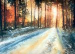 Winter sunset by nibybiel