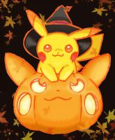 pikachu halloween coloured by shiroiwolf