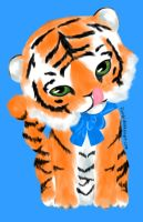 Request: Tiger with a Blue Bow by florgi