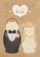 Russian Doll Wedding Invitations by ponychops