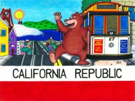 San Francisco California Bear Flag by WalterRingtail