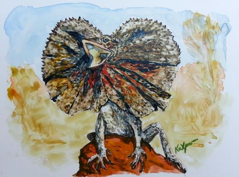 Frilled neck lizard by Kaxpur