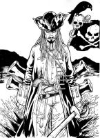 Jack Sparrow - Pirates of the Caribbean A3 ink by IgorChakal