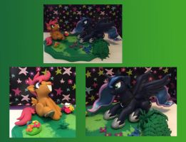 Luna and scootaloo sculpture by Whysteria