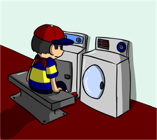 Ninten Doing the Laundry by FizTheAncient