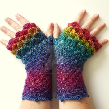 Rainbow Dragon Gloves by FearlessFibreArts