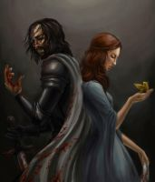 Sandor Clegane and Sansa Stark by Risel