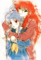 Botan and Kurama by rithrisa
