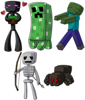 Minecraft Chibi Group by wondering-souls