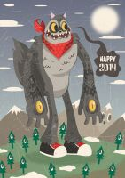 This Kaiju Raccoon wishes you a happy new year! by ExoesqueletoDV