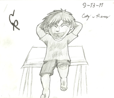Kid sitting on a table by cmr-1990