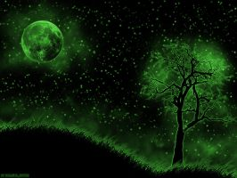 Green Night Sky by burgulgoth