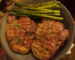 Pork Chops and Asparagus by Trance-Plant