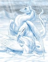 winter dragons by hibbary