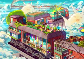 Houses on the Stopping Train by CaringWong