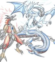 Dragons Collide by D3-shadow-wolf