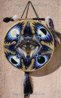Wolf Raven Shield Drum by ssantara