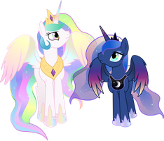 The Two Rainbow Royal Sisters by TheShadowStone