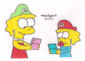 Playing DS by MarioSimpson1