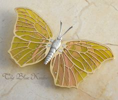 yellow sulfur butterfly brooch by thebluekraken