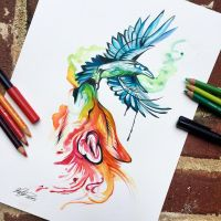 202- Wolf and Raven Watercolor Design by Lucky978
