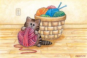 Cat by the Yarn Basket by spiraln