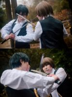 Hijikata and Sougo - Gintama by cloeth