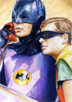 Batman and Robin Sketch Card by veripwolf