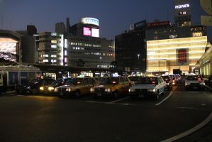Night Time at Taxi Stand at Yokohama Train Station by JAFNOVA