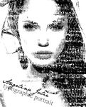 Angelina Jolie typographic portrait by Blinkt