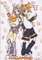 Len and Rin Kagamine by Lugiaisawesome