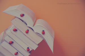 ladybugs like reading too :) by Chaliveaux