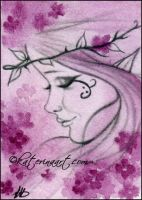 Cherry blossom Queen ACEO sketch by Katerina-Art