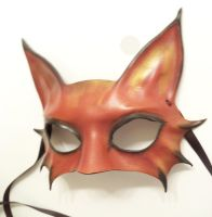 Little Kitty Leather Mask brownish red black gold by teonova